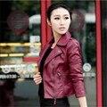 ИСКУССТВЕННАЯ Кожа с отложным воротником женщин тонкий мотоцикл кожаной одежды короткие куртки верхняя одежда Черный/Красный Вино