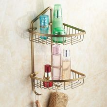 Bathroom Accessory Antique Brass Large Corner Dual Layer Shower Storage Basket aba076