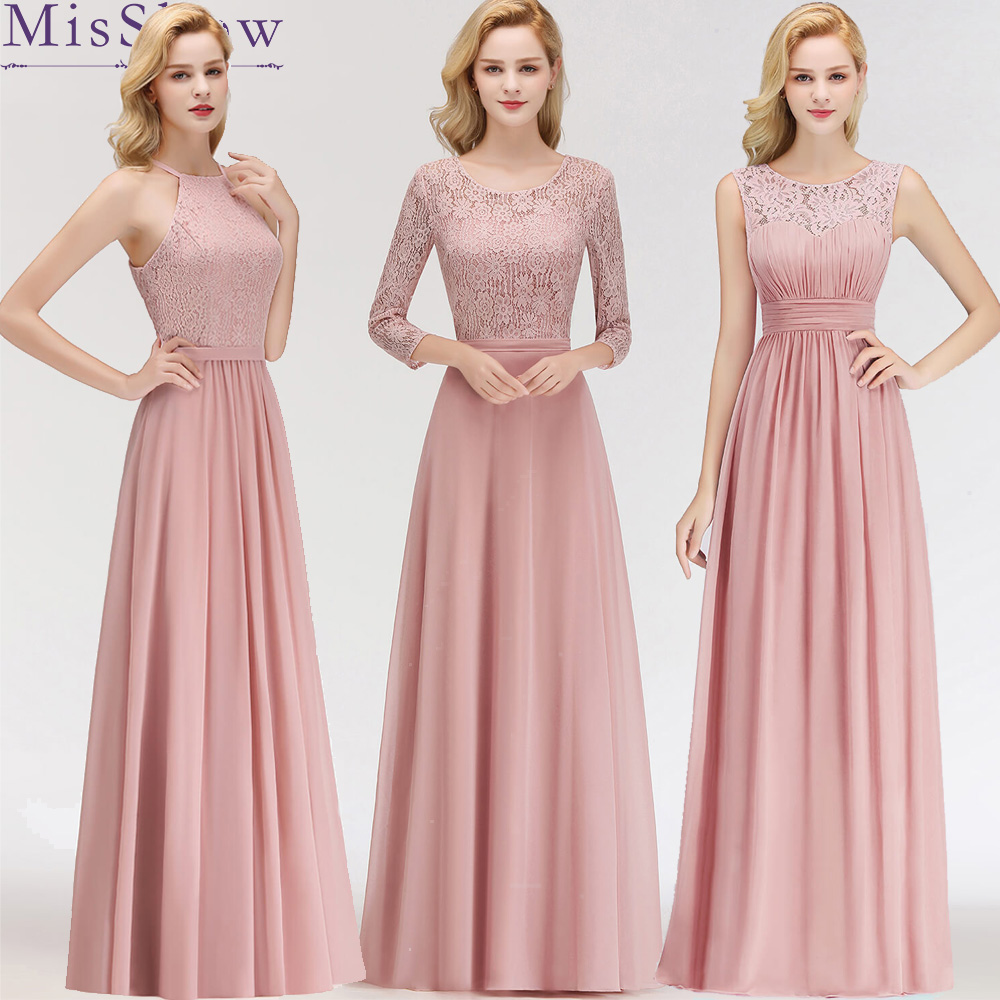 Misshow Evening Dress 2019 Pink Chiffon Long Formal Gown Scoop Neck Sleeveless Lace 2020  Robe De Soiree