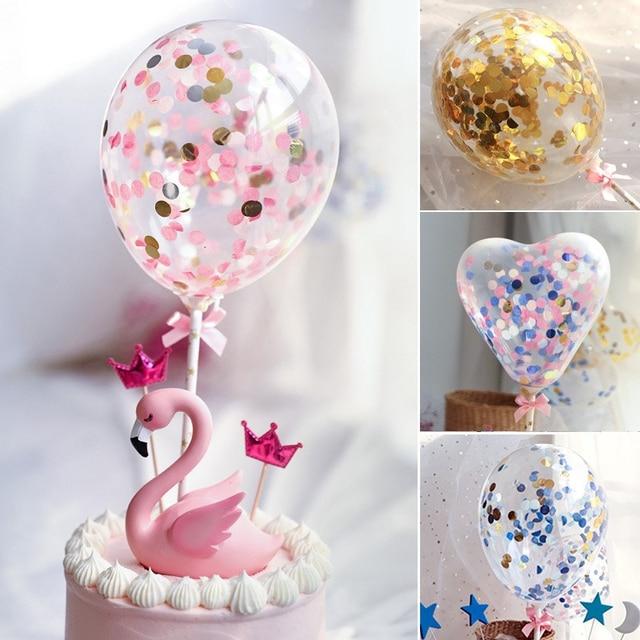 5 Inch Heart Bow Confetti Balloon Cake Topper Birthday Cake