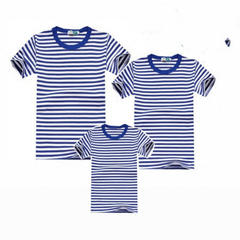 Hot Family Clothes Family Matching Outfits stripe T-shirt Parents Kids Clothing Top tees Family Look fitted Children Outwear