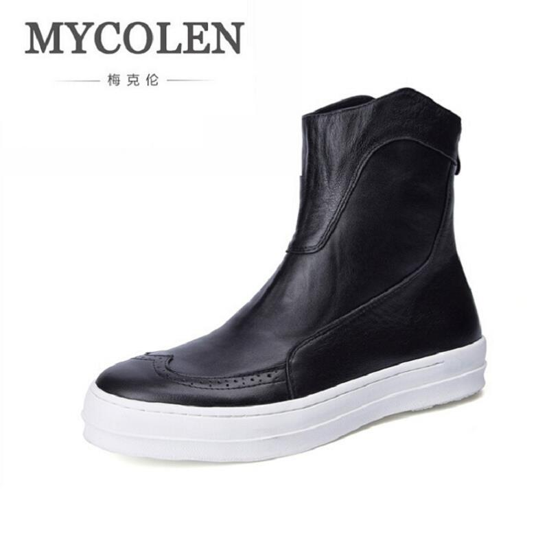 MYCOLEN Men Winter Cowhide Leather Flat Boots Men Chelsea Boots Fashion Designer Mens Casual Shoes Zipper Coturnos Masculino mycolen 2017 fashion winter men boots british style working safety boots casual winter men shoes male black leather ankle boots