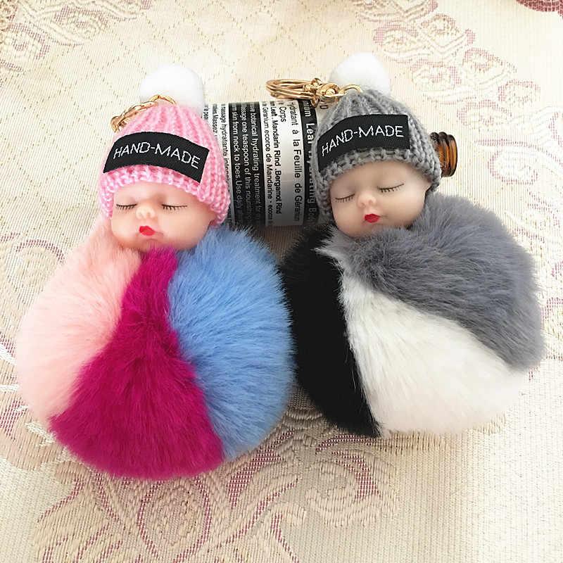 Новый спящий детский Кукольный брелок с помпоном из кроличьего меха брелок для ключей Автомобильный брелок для женщин держатель сумка Подвеска Шарм Аксессуар porte clef