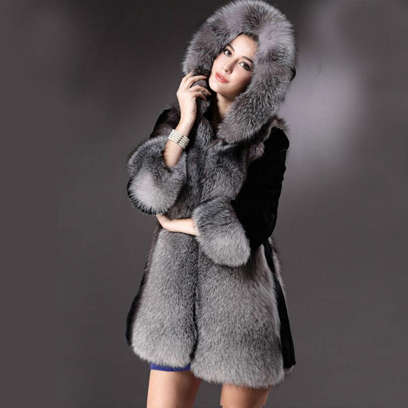 New Women Winter Hooded Fake Fur Coats Plus Size 3XL fashion Artificial Black Faux Fox Fur Coat With Hood Big Size s1450