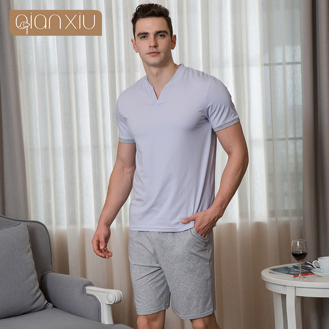 2019 Summer Men Casual Pajama sets Male V-neck Collar t shirt   half pants 461d93231
