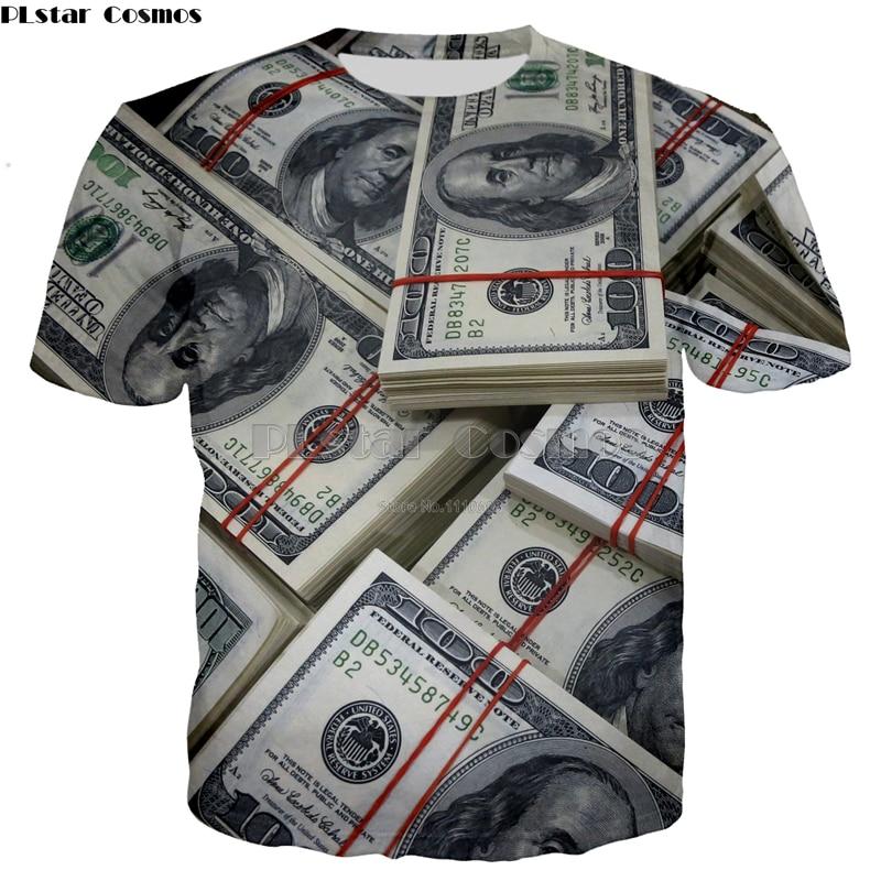 PLstar Cosmos Brand New Pattern 3d Fashion print T-shirts Men/Women Unisex money Dollars Pattern Free Shipping Tops S-5X