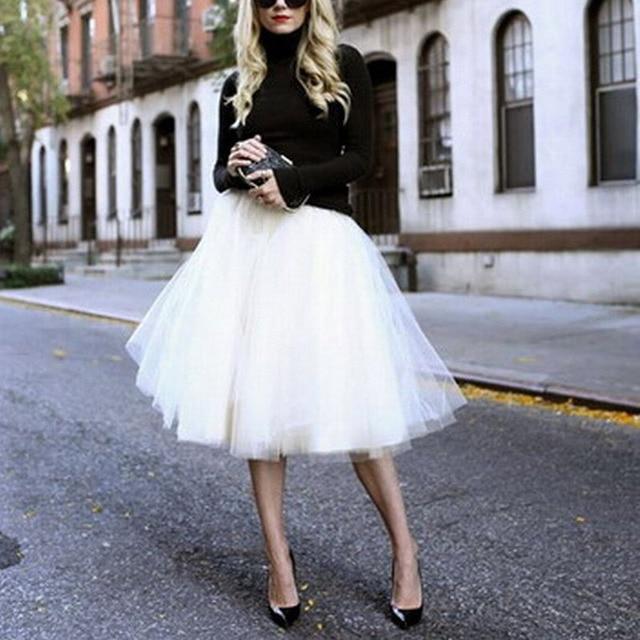 4c5884b14b1 New Puff Women Chiffon Tulle Skirt White faldas High waist Midi Knee Length  Chiffon plus size Grunge Jupe Female Tutu Skirts