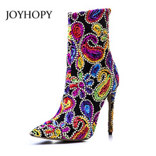 JOYHOPY 2017 Creative Vintage Embroidery Ankle Boots Women Pointed Toe High Heels Martin Boots Fashion Woman Rhinestone Shoes