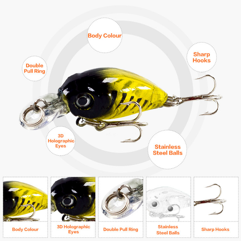 Thritop Crankbait Cute Fishing Lure Høj kvalitet Hook 45mm 4g med 9 - Fiskeri - Foto 4