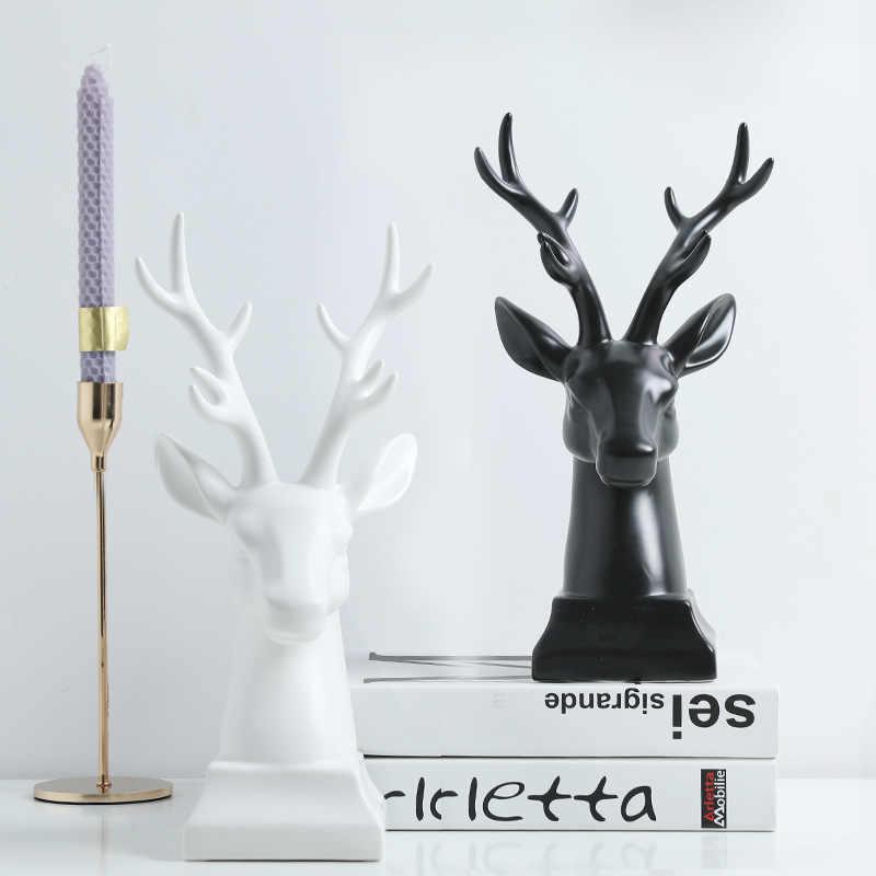 נורדי צביים ראש יצירתי קרמיקה קישוט בית קישוט מלאכות ארון טלוויזיה מקרר יין סלון קישוט שולחן העבודה מתנה