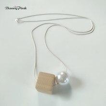 Banny różowy Chunky okrągła sztuczna perła plac drewno naszyjnik prosty wąż łańcuch długi kobiety naszyjnik łańcuch sweter szyi