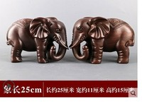 Ebony handmade solid wood A pair of wooden elephants pear decoration Carving handicraft statue black sandalwood rafts dies