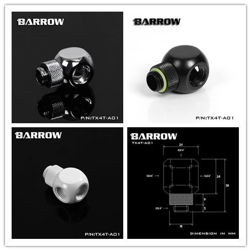 "Barrow G1/4 ""X4 White Black silver Extension 360 rotation 4 Way cubic Adaptor Computer build cooler fittings ,TX4T-A01"