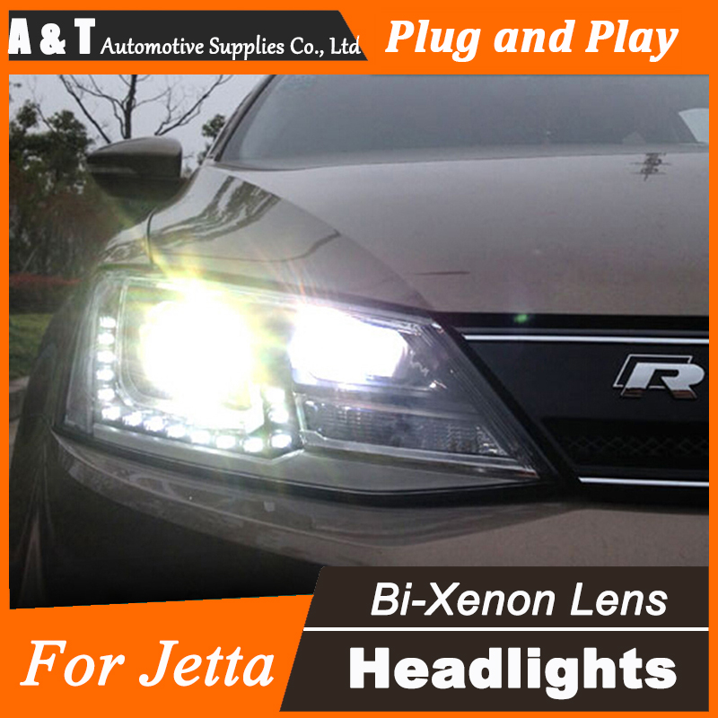 Car Styling for VW Jetta MK6 Headlight assembly Jetta LED Headlight GTI drl Lens Double Beam H7 with hid kit 2 pcs.