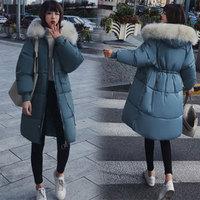 Однотонные меховые Утепленные длинные пуховые пальто на молнии с капюшоном, женские повседневные теплые хлопковые пальто с длинными рукав...
