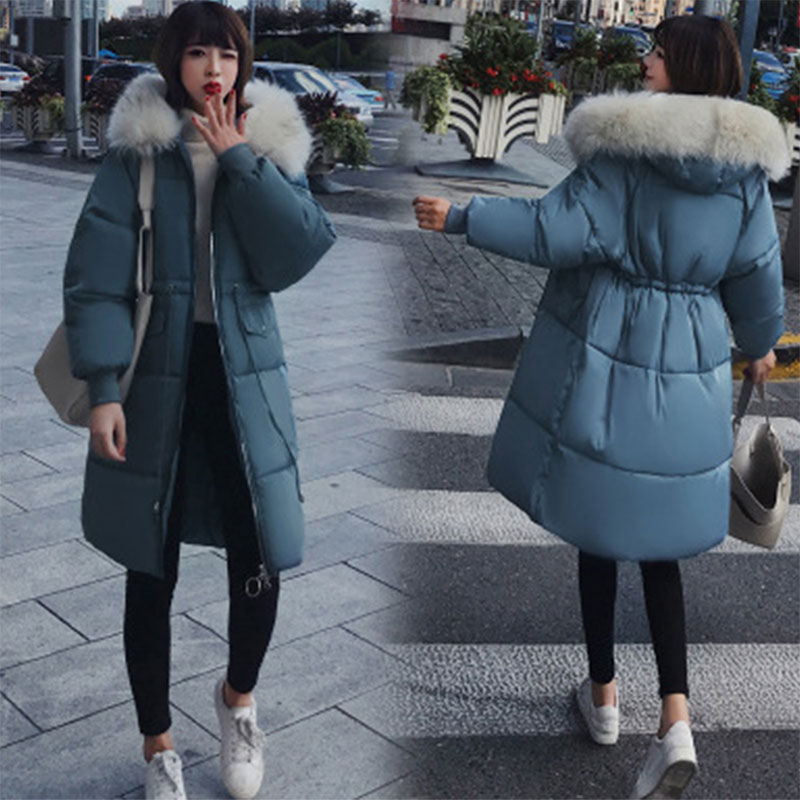 Solid Fur Hooded Thicken Zipper Long   Down     Coats   Women Casual Long Sleeve Lace Up Warm Cotton   Coats   Female Hardy Jackets New