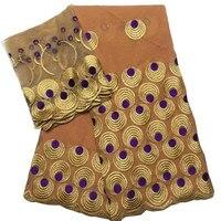 Q221 (2 metre + 5 metre/set) Turuncu ve altın yüksek kalite İşlemeli İsviçre vual dantel pamuk parti elbise için afrika kumaş