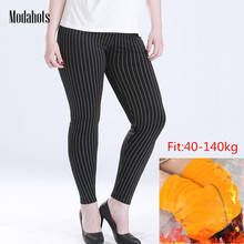 Plus Size Winter Women Leggings Thick Velvet 6XL Big Sizes Large Slim Legging Large Push Up Black Vertical Stripes Warm Leggins