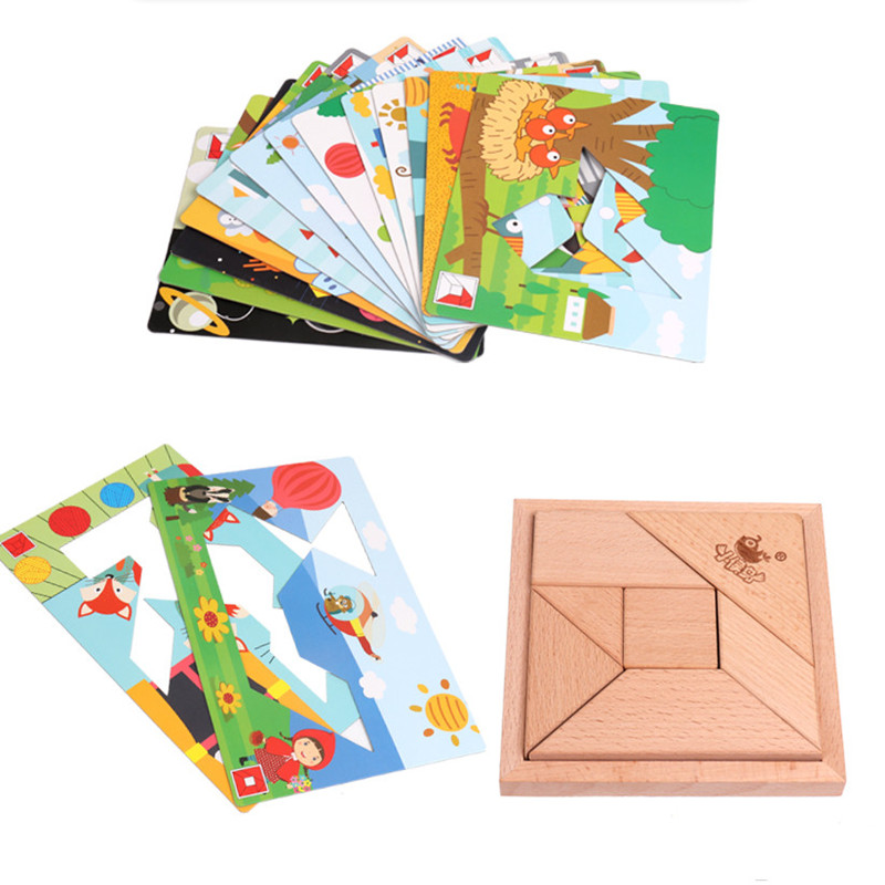2018 New Wooden Creative Jigsaw Puzzle Graph Match Game Puzzle Educational Toys For Children Jigsaw Puzzle Wood Developing Toys