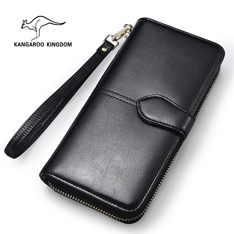 KANGAROO KINGDOM Fashion Brand Women Wallets Split Leather Long Clutch Purse Lady Zipper Hasp Card Holder Wallet