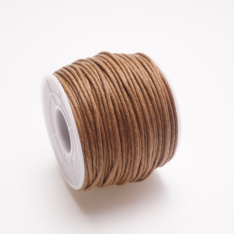 Beige 10M 1-1.5mm Wax Coated String Cotton Waxed Cord Jewelry Bracelet Making