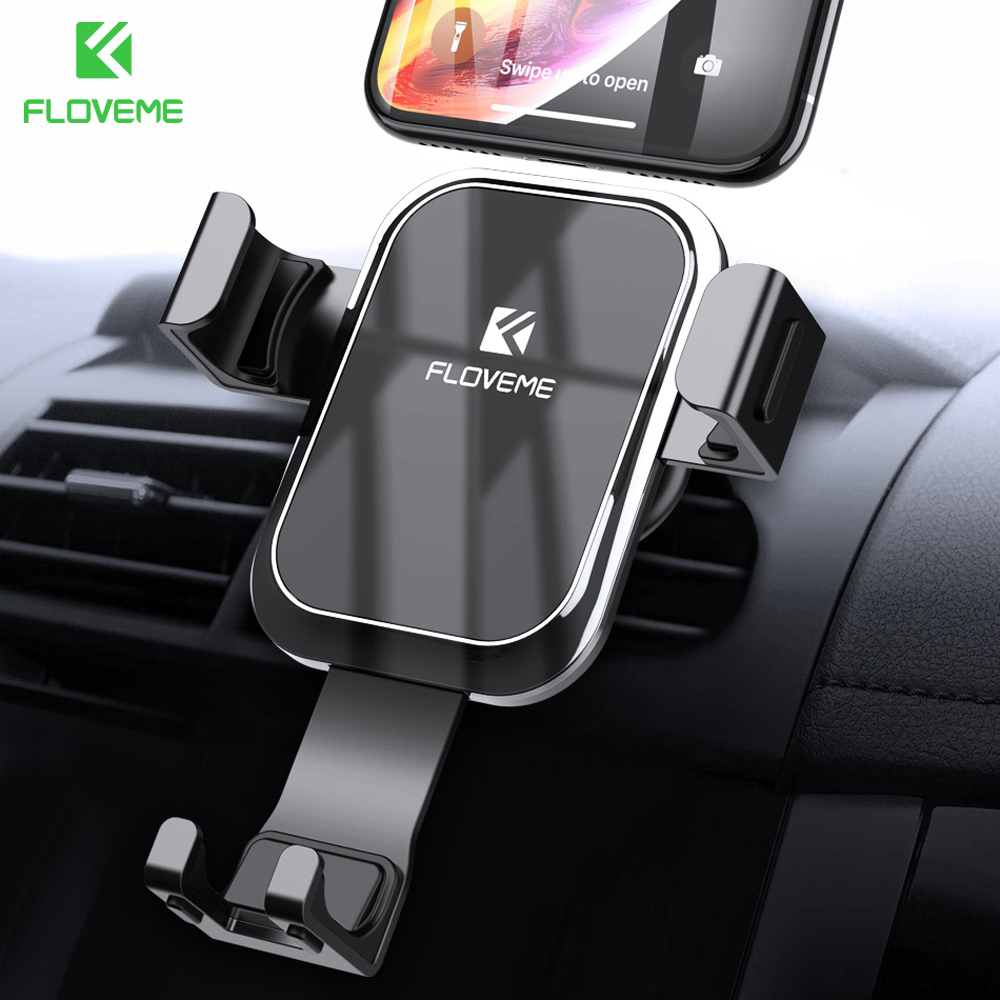 FLOVEME Gravity Car Phone Holder Stand For Mobile Phone In Car Luxury Auto Locked Mirror Holder For IPhone Xiaomi Telefon Tutucu