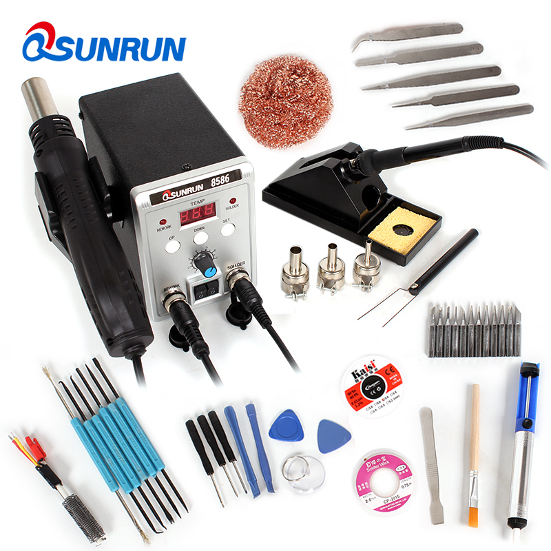 2 in 1 Electric iron digital display adjustable temperature welding silver 8586 hot air gun repair