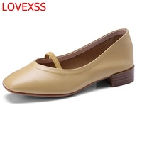 LOVEXSS Korean Women S Shoes Leather Fashion Word With Shallow Shoes Round Head Retro Low Rise