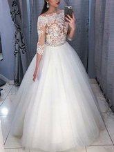 цена на Off-The-Shoulder 3/4 Length Sleeves Appliques Wedding Dresses 2020 New Dress Vestidos De Noiva Bride Dresses robe de mariage