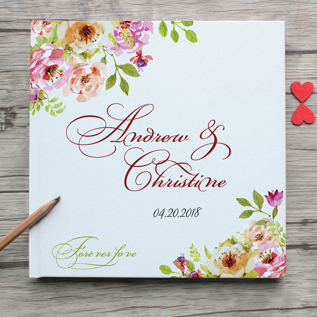 Personalized White Wedding Guest Book With Flowers Custom Bride Groom's Name Wedding Date Guest Book,Anniversary Photo Album