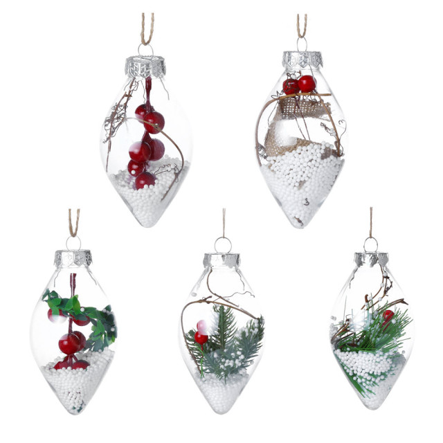 1pcs christmas tree drop ornaments plastic ball transparent hanging xmas pendant ball christmas decorations for home