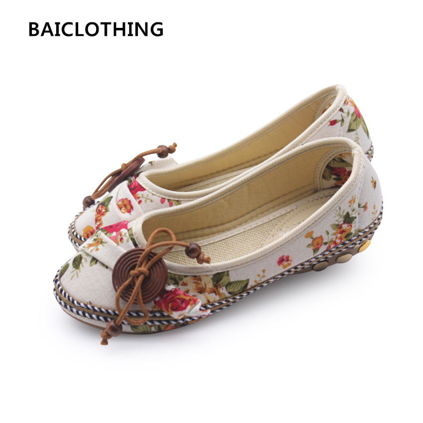 BAICLOTHING women cute spring & summer slip on flat shoes lady cute soft retro flats sapatos femininos female casual cloth shoes cresfimix sapatos femininas women casual soft pu leather flat shoes with side zipper lady cute spring