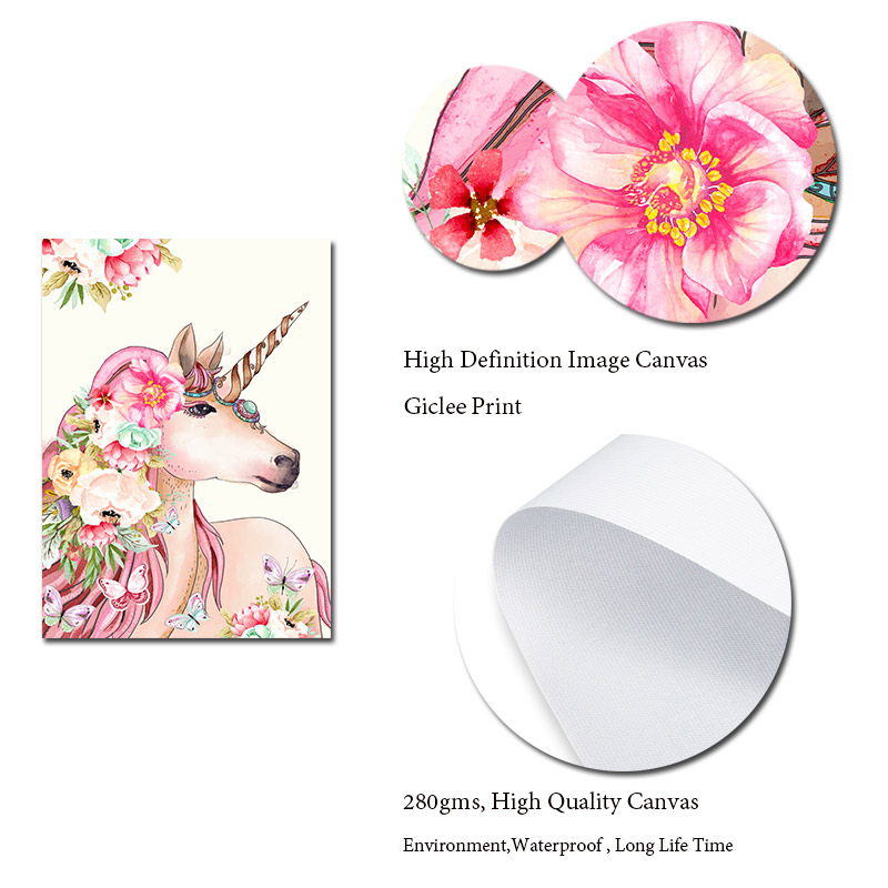 Scandinavian Style Unicorn Flamingo with Flower Canvas Wall Art Prints Animal Posters Painting Pictures for Living Room Decora in Painting Calligraphy from Home Garden