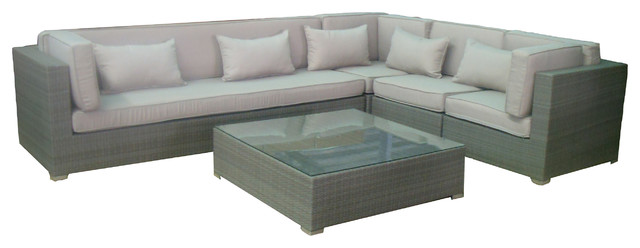 2017 All Weather Outdoor Sectional Sofa Grey 5 Pc Wicker Corner Sofa Set