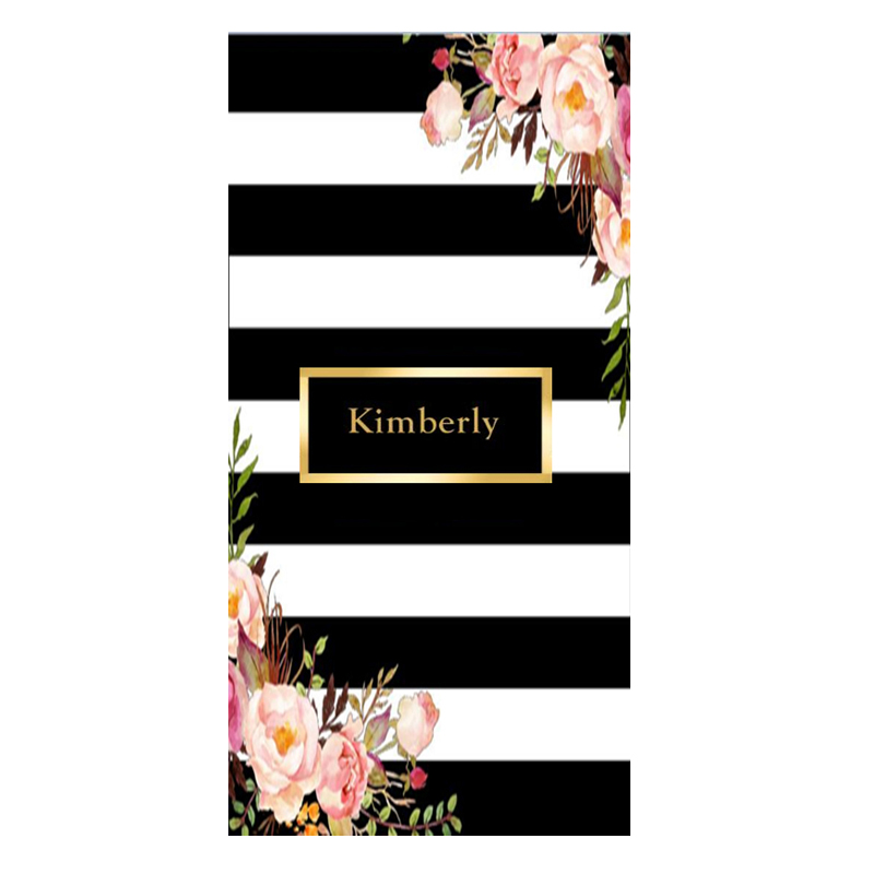 Stylish Elegant Black White Striped Floral Shower Face Bath Towel Gold Personalized Name Beach Travel Towel for Women Chic Gift