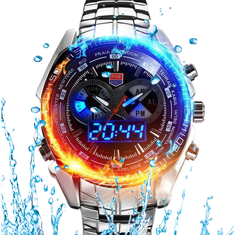 HOT Brand TVG Stainless Steel Black Men's Clock Fashion Blue Binary LED Pointer Mens 5ATM Waterproof Watches free shipping