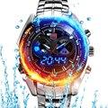 Marca quente dos homens negros de aço inoxidável tvg relógio moda binário azul led ponteiro mens 5atm relógios à prova d' água frete grátis