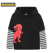 Balabala Toddler Boy Fake 2-Piece Dinosaur Hooded Sweatshirt with Striped Sleeve Children Kids Pullover Hoodie Soft Cotton Lined(China)