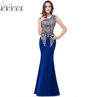 Robe De Soiree 12 Colors Royal Blue Lace Evening Dresses Long 2016 Sexy Sheer Back Satin