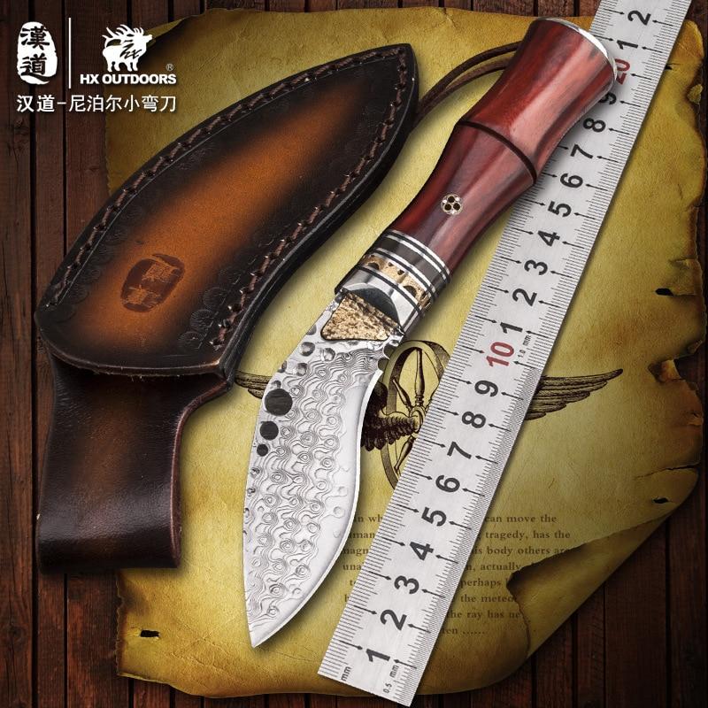 HX на открытом воздухе Высокое качество твердость Дамасская сталь прямой нож Wilderness аварийный нож деревянной ручкой Открытый самообороны но