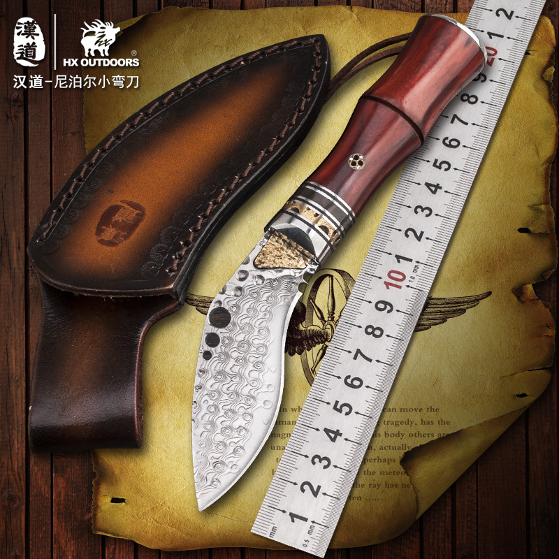 HX OUTDOORS High quality hardness Damascus steel straight font b knife b font wilderness font b