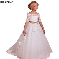 White Ivory Lace Flower Girls Dresses With Belt Floor Length Girls First Communion Dress Princess Girl