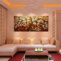 Canvas painting on the wall painting for entrance way canvas wall art photos palette knife hand painted white flower tree