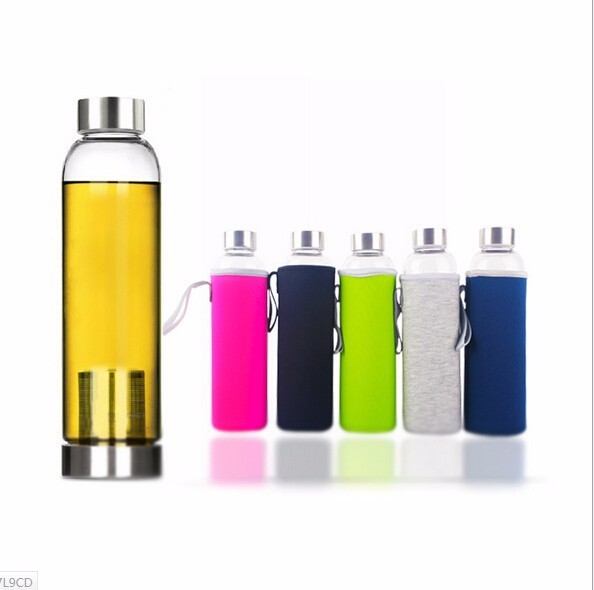 22oz Universal BPA Free High Temperature Resistant Glass Sport Water Bottle With Tea Filter Infuser Bottle