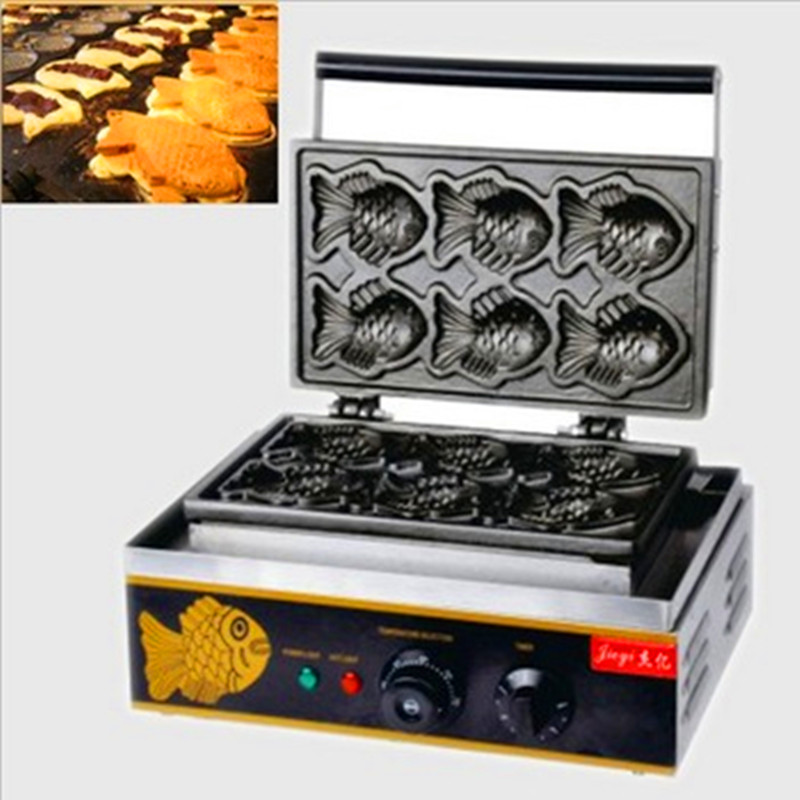 Commercial Korean Snack Fish Cake Machine Taiyaki Oven Grill Fish Shape Cake Waffle Maker ZF цена
