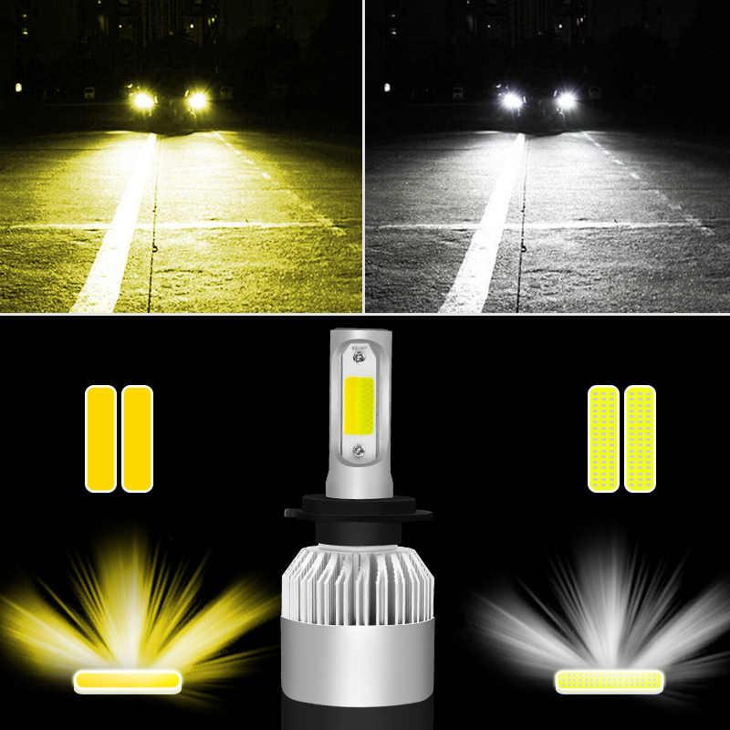 New Car Headlight S2 3000K 6000K H4 LED H7 LED Bulb 3000K 6000K H1 H3 H8 H11 9005 HB3 9006 HB4 880 881 H27 LED Dual Color Light