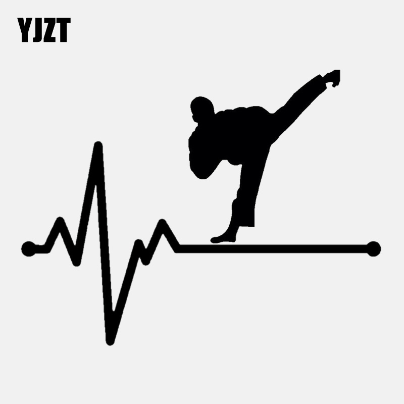 Car Stickers Tireless Yjzt 15.5cm*11.9cm Dojo Black Belt Uniform Heartbeat Decal Vinyl Black/silver Car Sticker C22-1122 Good Taste