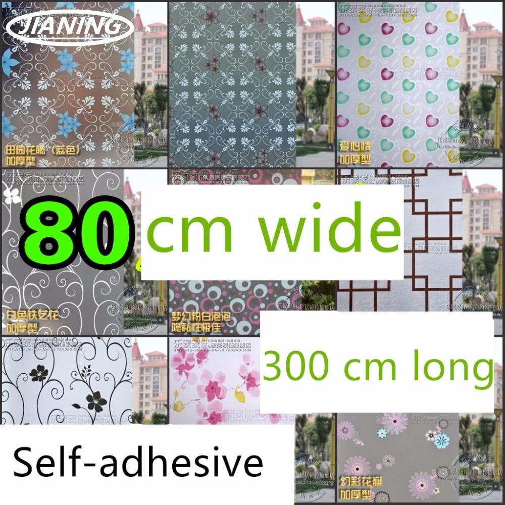 80cm bred * 300cm vindue film solcreme glas film vindue klistermærke gennemsigtig uigennemsigtig badeværelse glas cellofan skydedør pasta