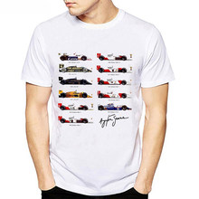 Alle F1 Ayrton Senna Sennacars Mannen T-shirt Cars Fans Mannelijke Koele T-shirt Slim Fit Wit Fitness Casual Tops Tee shirt Homme Camisa(China)