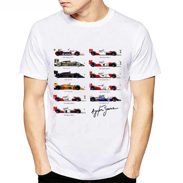Tất cả F1 Ayrton Senna sennacars nam áo Xe Ô Tô Người Hâm Mộ nam Thun lạnh Mỏng trắng thể dục Cổ Áo thun áo sơ mi Homme camisa